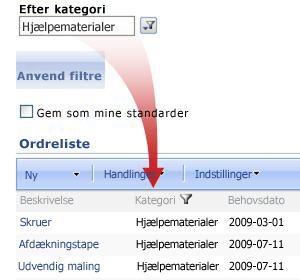 Webdelen Foretrukket filter filtrerer ordreoversigten efter forsyninger.