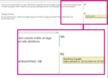 Registrering af ændringer i OneNote