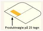 Produktnøglen findes i emballagen på et mærkat på venstre side af kassen