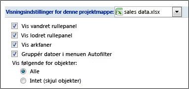 Vis afkrydsningsfeltet Arkfaner i dialogboksen Excel-indstillinger