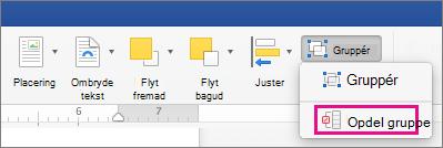 Hvis du vil ophæve en gruppering, skal du klikke på Opdel gruppe under fanen Figurformat eller fanen Billedformat.