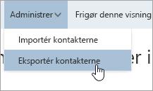Et skærmbillede af indstillingen Eksportér kontaktpersoner i menuen Administrer