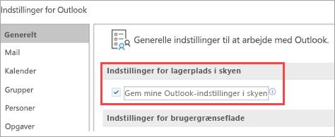 Viser indstillinger for Outlook-indstillinger