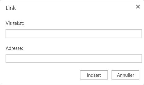Skærmbillede viser dialogboksen Link, hvor du kan angive oplysninger om vist tekst og adresse for links.
