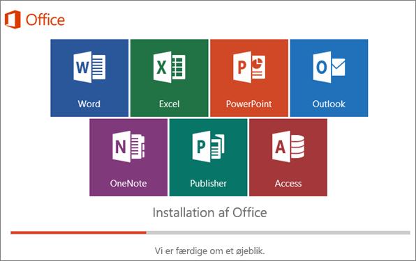 Vindue, der viser, hvordan installationen af Office forløber