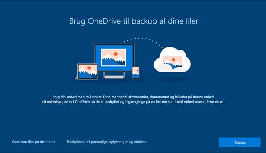 Skærmbillede af OneDrive-siden, der vises første gang du bruger Windows 10