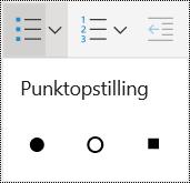 Opstilling med punkttegn-menu i OneNote Online.