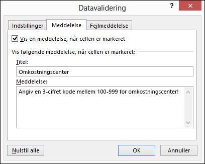 Meddelelsesindstillinger i dialogboksen Datavalidering