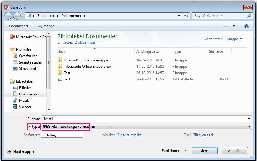 I dialogboksen Gem som skal du vælge den filtype, du vil gemme sliden som.