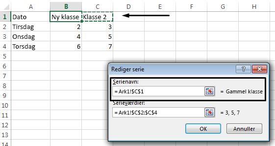 Vælg en anden celle til den forklarende tekst ved at klikke på tekstfeltet Serienavn.