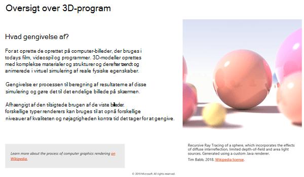 Skærmbillede af afsnittet Oversigt over 3D-programmer i retningslinjerne for 3D-indhold