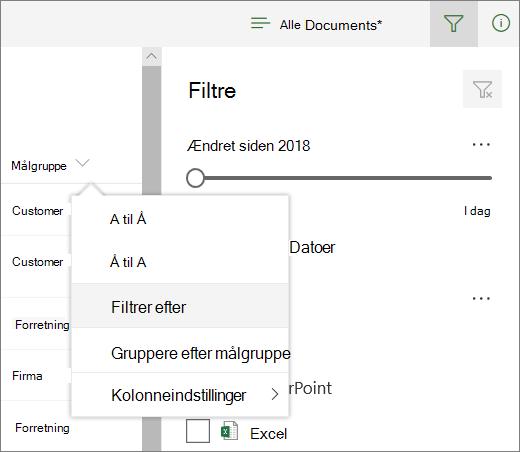 Klik på Filtrer efter for at åbne panelet filter