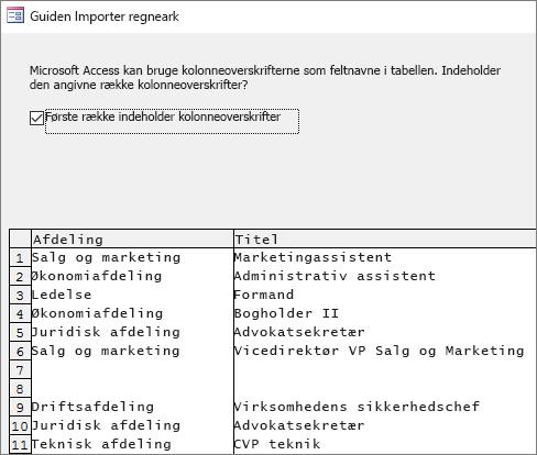 Import af data fra Excel