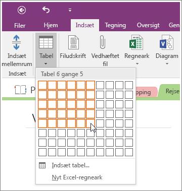 Skærmbillede af, hvordan du tilføjer en tabel i OneNote 2016.