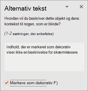 Afkrydsningsfeltet Markér som dekorativ valgt i PowerPoint til Windows