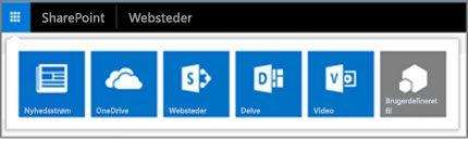 Hybridappstarteren på et SharePoint Server-websted