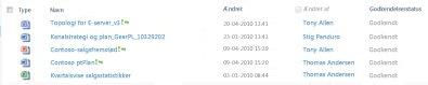 Dokumentbibliotek, der indeholder en afvist fil og nogle godkendte filer
