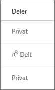 Visningen Deling af status i OneDrive for Business