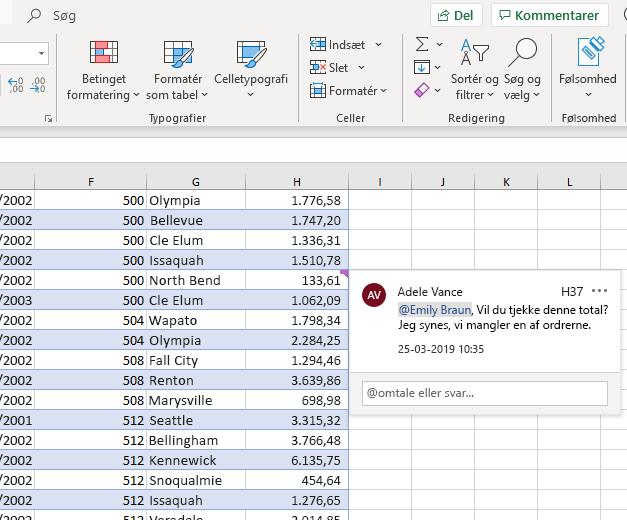 Skærmbillede af at skrive en kommentar i Excel