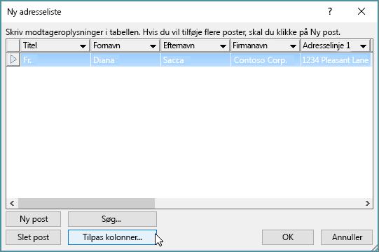 Hvis du vil tilføje brugerdefinerede kolonner til listen over mail, skal du klikke på knappen Tilpas kolonner.