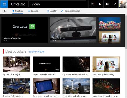 Skærmbillede af startsiden for Office 365 Video.
