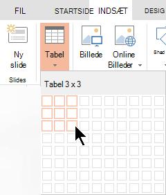 Vælg Tabel under fanen Indsæt.