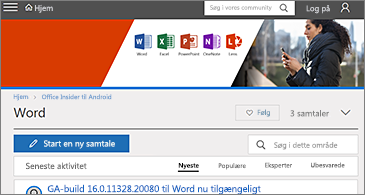 Startsiden for Office Insider til Android Tech Community
