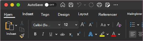Mørkt tema til Word i macOS