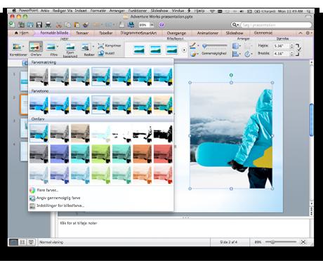 PowerPoint-brugergrænseflade, der viser båndet for Office til Mac