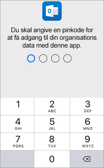 Konfigurer en pinkode for at få adgang til din organisations data