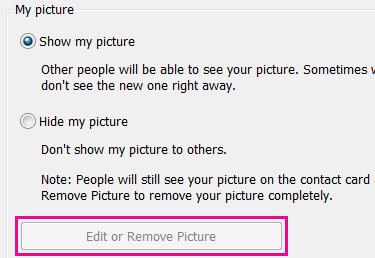 Skærmbillede, hvor knappen Rediger eller skift billede er deaktiveret og fremhævet