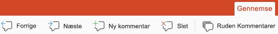Kommentar-knapperne i PowerPoint til iPad
