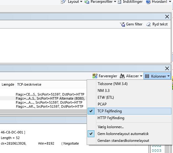 Her kan du finde rullemenuen Kolonner for indstillingen TCP-fejlfinding (øverst på Rammeoversigt).