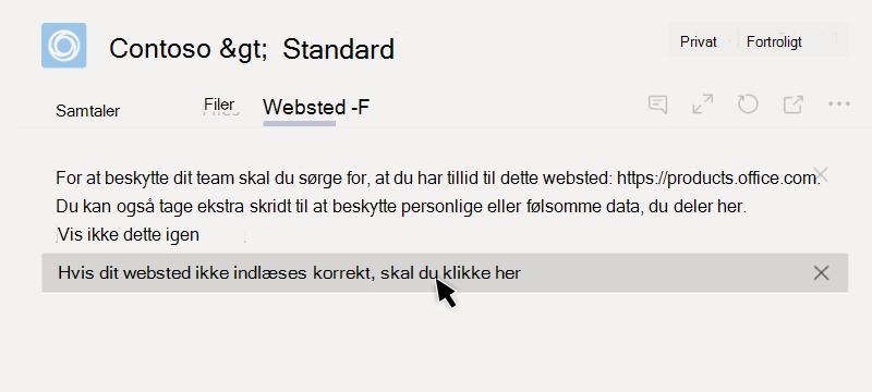 Webstedet kunne ikke indlæses i en fane
