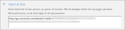 """Nærbillede af sektionen med skærmbilledet """"Hent et link"""" i dialogboksen """"Tilføj en person""""."""