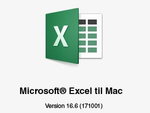 Feltet Om til Excel til Mac, der viser version 16.7_C3_201792132824