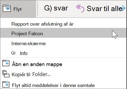 Flytte en meddelelse til en mappe i Outlook