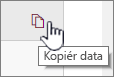 Klik på ikonet Kopiér data for at kopiere de aktuelle webdels data