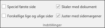 Indstillinger for Sidehoved og sidefod under fanen Design på båndet