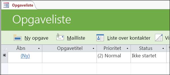 Formularen Opgaveliste i Access-databaseskabelonen Opgaver
