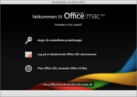 Skærmbillede af velkomstsiden for Office til Mac 2011