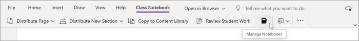 Markøren peger på den sorte notesbog i sektionen Holdnotesbog i OneNote. Brug denne funktion til at administrere din holdnotesbøger.