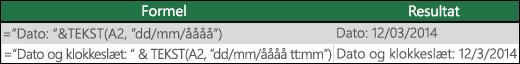 """Eksempler på brug af TEKST til at formatere datoer.  =TEKST(A2,""""dd/mm/åååå"""")"""