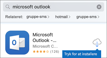Tryk på skyikonet for at installere Outlook