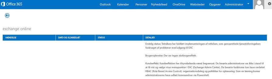 Et billede af dashboardet for tjenestetilstand Office 365, som angiver, at Exchange Online-tjenesten er gendannet og hvorfor.