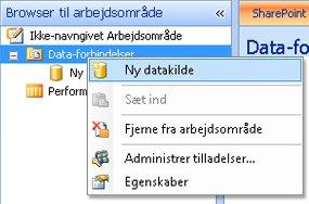 Indstillingen Ny datakilde markeret i arbejdsområdebrowseren