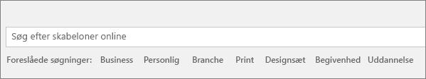 Søgefeltet til at finde Word-skabeloner online er vist.