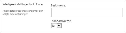 Valg for kolonnen Ja/nej