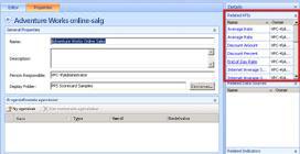 I Dashboarddesigner vises de relaterede KPI'er for et scorecard i ruden Detaljer, når du klikker på fanen Egenskaber.