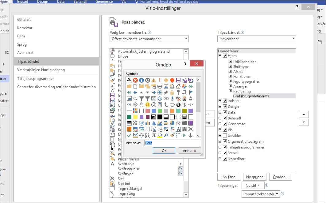 Klik på ikonet Venn, og skriv derefter Graf i feltet Vist navn, og klik på OK.